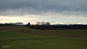 Stormy weather in Andechs, view to Zugspitze 16:9