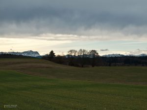 Stormy weather in Andechs, view to Zugspitze 4:3