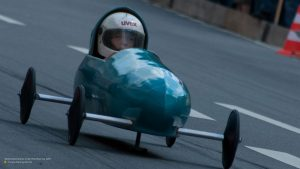 Racing car at soapbox derby in Munich 16:9
