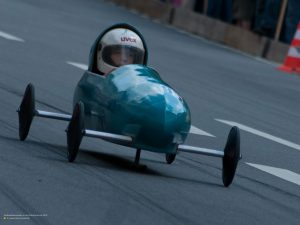 Racing car at soapbox derby in Munich 4:3