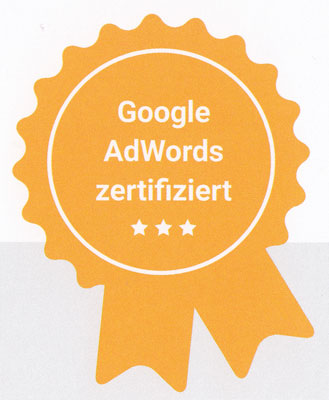Siegel Google Adwords zertifiziert